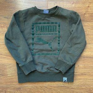 Puma size 6 boys sweater green felt long sleeve